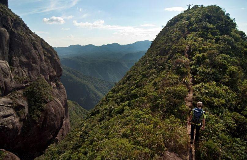 Caminhada em trilhas no Parque Estadual Marumbi, onde a Mata Atlântica mantém-se intacta